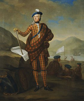 E. Gill: Harlequin Portrait Of Prince Charles Edward Stewart (1720-1788), Full Length In Red Tartan Coat, Breeches And Plaid. He Is Seen Landing At Lochnanuagh In Late July 1745 With His Seven Companions Later Known As The Seven Men Of Moidart