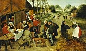 Pieter Brueghel d.J.: Bauern an einem Straßenausschank