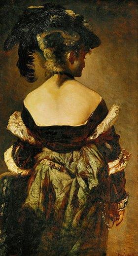 Hans Makart: Portrait einer Dame mit einem Federhut, Rückenansicht