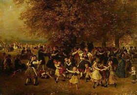 Ludwig Knaus: Das Kirchweihfest (Tanz unter den Linden vor einem hessischen Dorf)