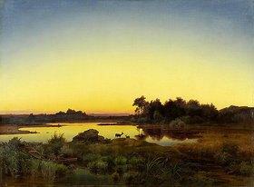 Anton Zwengauer: Rehe in Landschaft mit Sonnenuntergang