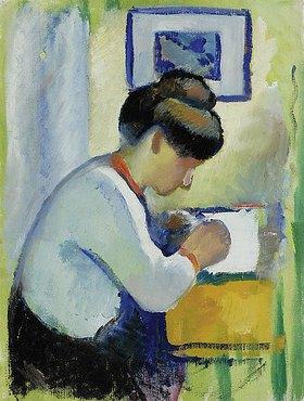 August Macke: Schreibende Frau