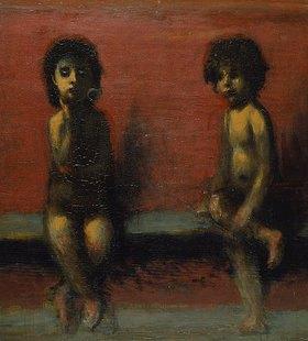 Hans von Marées: Zwei sitzende Kinder