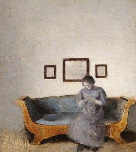 Vilhelm Hammershoi: Ida Hammershoi auf dem Sofa sitzend