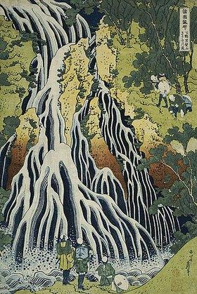 Katsushika Hokusai: Der Kirifuri Wasserfall am Mount Kurokami in der Provinz Shimotsuke. Aus der Serie: Eine Reise zu den Wasserfällen Japans