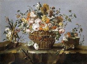 Francesco Guardi: Blumen in einem Korb und ein kleiner Zweig mit Kirschen
