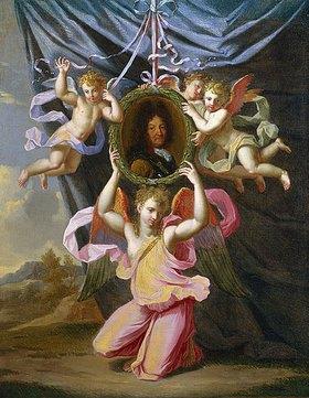 Charles Nachfolger Le Brun: Bildnis Ludwig XIV., von Engeln vor einem Vorhang gehalten