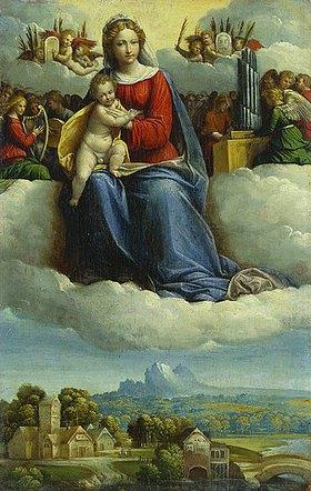 Garofalo (eigtlich Benvenuto Tisi): Madonna mit Kind umgeben von musizierenden Engeln über einer Waldlandschaft