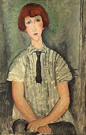 Amadeo Modigliani: Junges Mädchen in gestreiftem Hemd