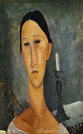 Amadeo Modigliani: Hanka Zborowska, im Hintergrund ein Kerzenständer