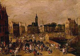 Sebastian Vrancx: Marktplatz am Hafen