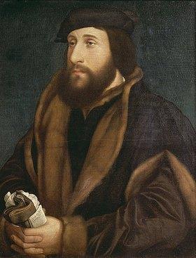 Hans Holbein d.J.: Unbekannter Mann mit Brief und Handschuhen
