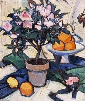 Samuel John Peploe: Rosa Azaleen und Orangen