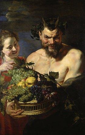 Peter Paul Rubens: Satyr und Mädchen mit Früchtekorb. Lwd., 112,5 x 71 cm