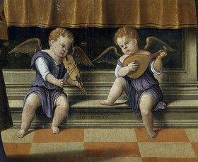 Fabrizio Santafede: Musizierende Engel (Detail aus: Madonna mit Kind und dem Heiligen Nikolaus und Johannes dem Täufer)