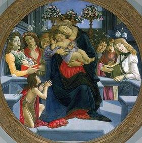 Sandro Botticelli: Maria mit dem Kind, Johannes dem Täufer und Engeln