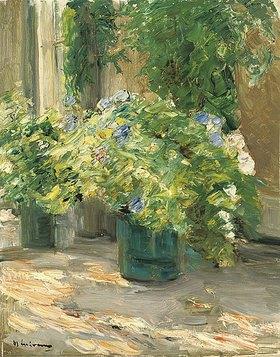 Max Liebermann: Blumentöpfe vor dem Haus