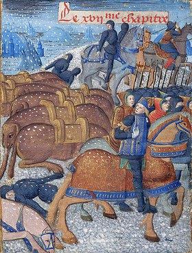 """Handschrift: Hannibal belagert Sagunt. Manuskript """"Les Faits des Romains""""/""""Li Fet des Romains"""""""