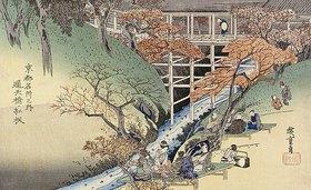 Utagawa Hiroshige: Rote Ahornblätter in Tsuten Bridge. Aus der Serie: Berühmte Orte in Kyoto
