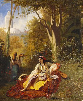 Charles-Theodore Frère: Eine Algerierin mit ihrer Bediensteten in einem Garten