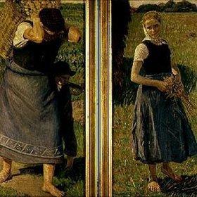 Leopold Graf von Kalckreuth: Frau bei der Kartoffelernte. Mädchen bei der Kornernte. Li.+re.Tafel des Tripty