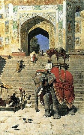 Edwin Lord Weeks: Elefant am Eingang zur Jama Masjid Moschee