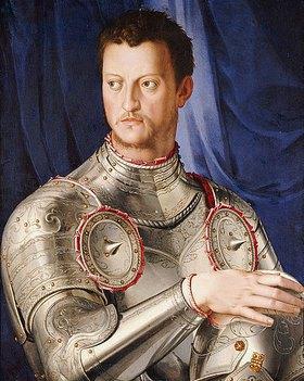 Agnolo Bronzino: Portrait des Cosimo I De' Medici (1519-1574), seine rechte Hand auf seinem Helm ruhend