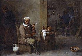 David Teniers: Rauchender Bauer in einem Wirtshaus