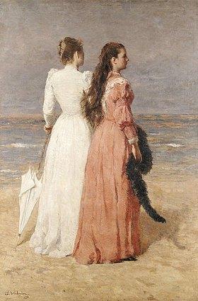 Isidore Verheyden: Elegant gekleidete Damen am Strand