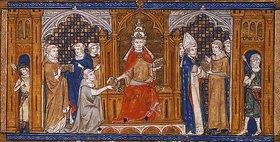 Französisch: Papst Gregor IX. händigt die Dekretale aus