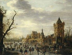 Jan van Goyen: Ansicht von Kasteel Batestein, Vianen mit Wintersportlern