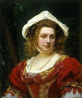 Gustave Jean Jaquet: Portrait einer Dame in einem roten Samtkleid