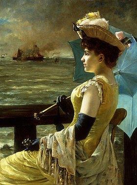 Alfred Stevens: Dame mit einem Sonnenschirm, aufs Meer hinausschauend