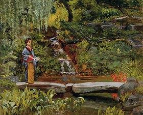 Theodore Wores: Wasserfall in einem Garten
