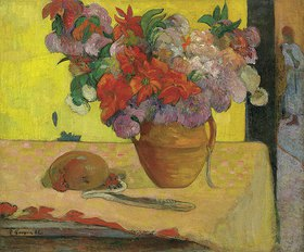Paul Gauguin: Blumen in einer Vase und eine Feldflasche. Nach