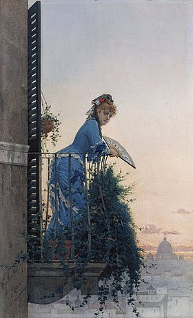 Willem Johann Martens: Eine Dame auf einem Balkon, im Hintergrund die Kuppel von St. Peter
