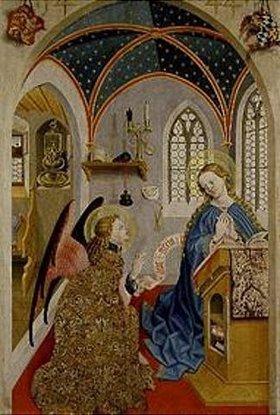 Meister der Pollinger Tafeln: Verkündigung an Maria.Außenseite des li. Flügels eines Altars aus Polling