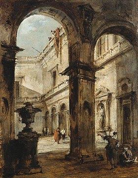 Francesco Guardi: Capriccio eines Innenhofes