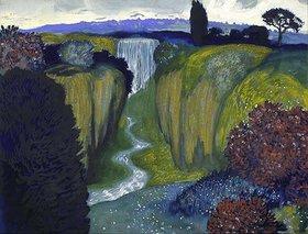 Franz von Stuck: Landschaft mit Wasserfall