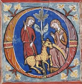 Handschrift: Der Fang eines Einhorns, Initiale 'O' aus einem Chorbuch
