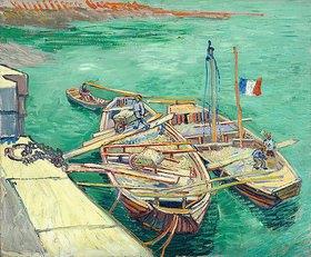 Vincent van Gogh: Rhonebarken. (Les bateaux amarrés.)