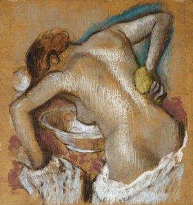 Edgar Degas: Frau, ihren Rücken mit einem Schwamm waschend