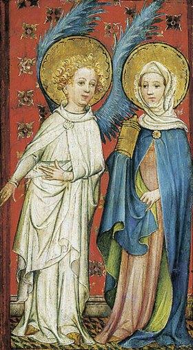 Älterer Meister der Aachener Schranktüren: Der Engel empfängt die drei Marien am Grabe (linker Flügel)