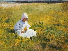 Marianne Stokes: Ein Mädchen beim Blumen pflücken