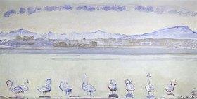 Ferdinand Hodler: Der Hafen von Genf vom Quai du Mont Blanc aus, mit neun Schwänen im Vordergrund