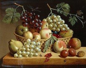 Dänisch: Ein Korb mit Trauben, Äpfeln und Pfirsichen