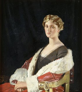 Sir William Orpen: Nancy Oswald Smith in einem roten Mantel mit Pelzbesatz