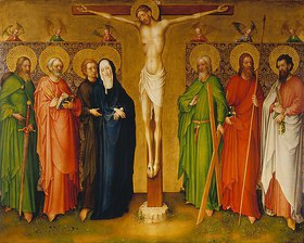 Meister des Heisterbacher Altars: Christus am Kreuz, Maria, und die hll. Jakobus d.Ä., Petrus, Johannes Ev