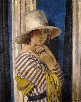 Sir William Orpen: Mrs. Hone in einem gestreiften Kleid
