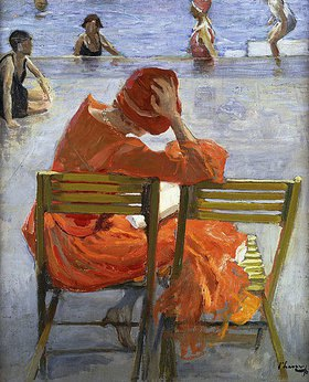 Sir John Lavery: Junge Frau in einem roten Kleid an einem Swimming Pool